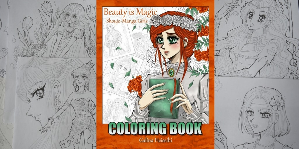 My self-drawn Coloring book with shoujo-manga girls!