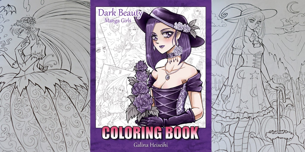 """Dark Beauty: Manga girls"" My second coloring book for children and adults."